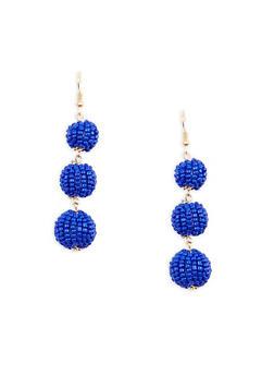 Beaded Ball Drop Earrings - 1135029360197