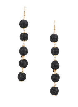 Thread Wrapped Bead Drop Earrings - 1135029364596