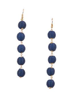 Thread Wrapped Bead Drop Earrings - 1135029364596