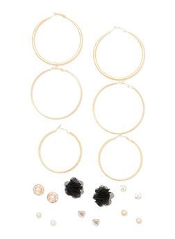 9 Piece Hoop Stud Flower Earring Set - 1135035150395