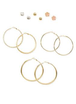 6 Piece Assorted Hoop and Stud Earring Set - 1135035150414
