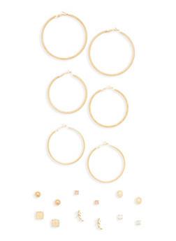 Set of 9 Hoop and Stud Earrings - 1135035150436