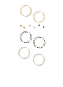 Tri Color Stud and Hoop Earrings Set - 1135035151931