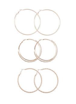 Trio of Textured and Rhinestone Hoop Earrings - 1135035151945