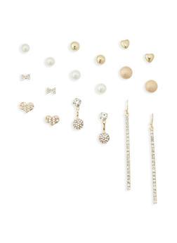 9 Piece Assorted Rhinestone Earring Set - 1135035152060