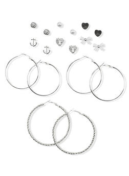 Set of 9 Assorted Hoop Stud Earrings - 1135035152357