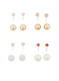 Set of 4 Reversible Stud Earrings - 1135035152540