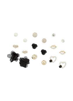 9 Piece Set of Assorted Flower Bow Stud Earrings - 1135035152654
