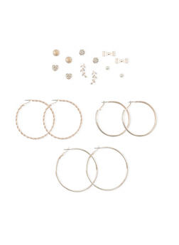 Set of 9 Asssorted Hoop Bow and Glitter Stud Earrings - 1135035152806