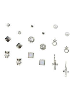 9 Piece Assorted Rhinestone Earring Set - 1135035152969