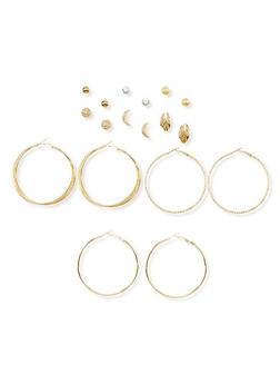 9 Assorted Stud and Hoop Earrings Set - 1135035153028