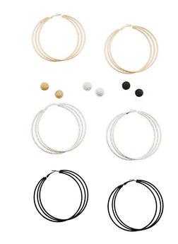 Set of Layered Hoop and Stud Earrings - 1135035153196
