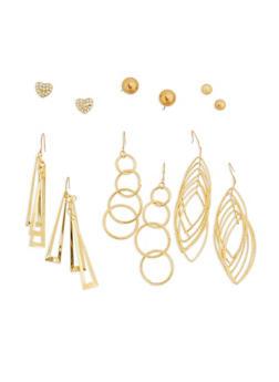 Metallic Stud and Drop Earrings Set - 1135035155033