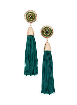Beaded Disc Tassel Earrings - 1135035155351