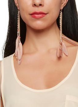 Rhinestone Feather Fringe Earrings - 1135035155686