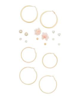 Flower Stud and Hoop Earrings Set - 1135035155930