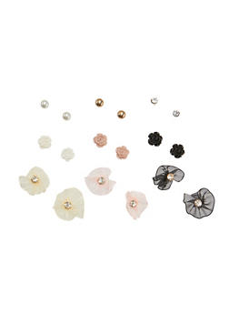 Set of 9 Assorted Fabric Flower Stud Earrings - 1135035155968