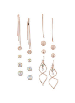 Set of 9 Assorted Drop and Stud Earrings - 1135035156131