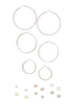 9 Assorted Hoop Stud Earring Set - 1135035157428