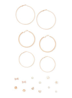 9 Piece Heart Bow Stud and Hoop Earring Set - 1135035158537