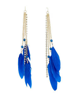Rhinestone Chain and Feather Drop Earrings - 1135035158565