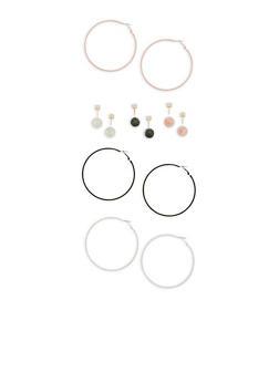 Tri Color Reversible Stud and Hoop Earrings - 1135057693912