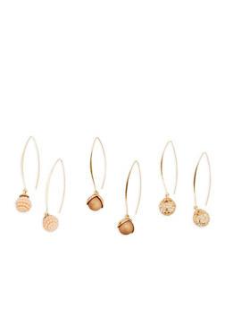 Faux Pearl Threader Earrings - 1135057693973