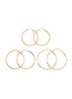 Set of 3 Assorted Size Hoop Earrings With Glitter And Star Cutouts - 1135057694600