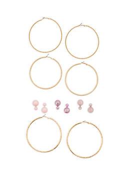 Set of 6 Large Hoop and Reversible Stud Earrings - 1135057694731