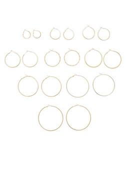 Set of 9 Various Size Hoop Earrings - 1135057697721