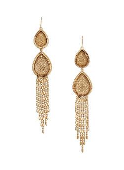Rhinestone Double Tear Drop Fringe Earrings - 1135062810629