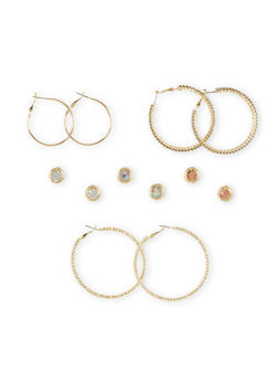 Set of 6 Textural Hoops and Rhinestone Studs - 1135062811589