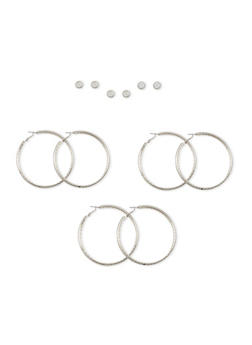 Set of 6 Glitter Hoop and Stud Earring Set - 1135062812601