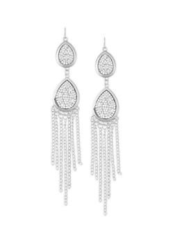 Rhinestone Tear Drop Chain Fringe Earrings - 1135062815497