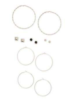 Set of 6 Giant Hoop Stud Earrings - 1135062816013