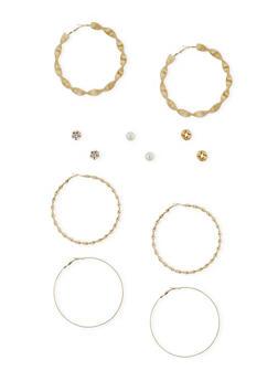Set of 6 Twist Hoops with Assorted Stud Earrings - 1135062816017