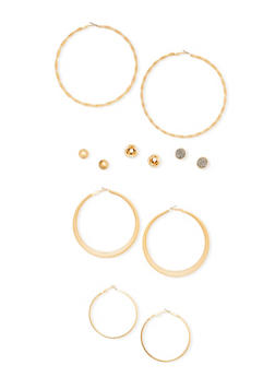 Extra Large Trio Hoop Earring Set with Assorted Studs - 1135062816021
