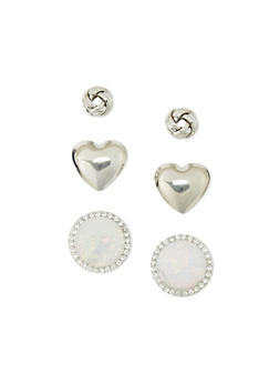 Trio Knot Heart Dome Stud Earrings - 1135062816045