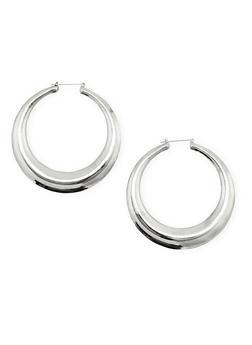 Large Solid Hoop Earrings - 1135062816093