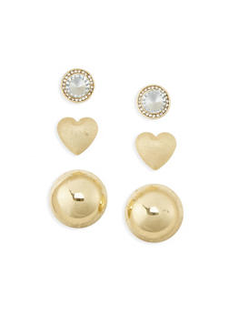 Trio Dome Heart and Stud Earrings - 1135062816484