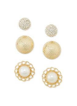 Trio Pearl Dome Stud Earrings - 1135062816531