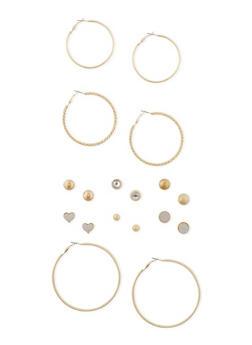 Assorted Metallic Glitter Stud Earrings with Trio of Hoop Earrings - 1135062817137