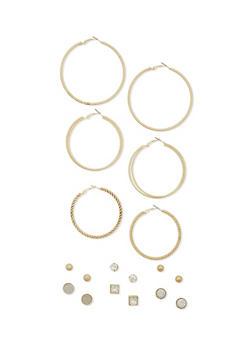 Assorted Stud Earrings with Trio Hoop Set - 1135062817138