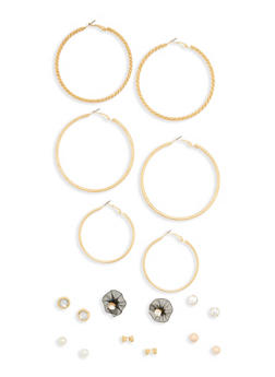 Set of 9 Flower Stud Hoop Earrings - 1135062817407