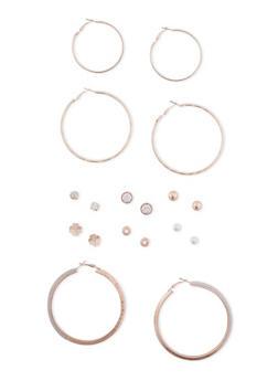 Assorted Stud Earrings with Trio Hoop Set - 1135062817412