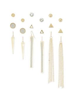 Set of 9 Glitter Rhinestone Stud and Drop Earrings - 1135062818115
