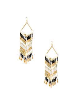 Beaded Chandalier Fringe Earrings - 1135062818349