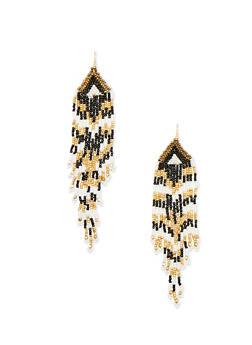 Multi Colored Beaded Fringe Earrings - 1135062818529
