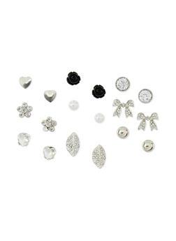 Set of 9 Assorted Leaf Rose Stud Earrings - 1135062818702
