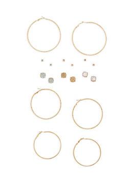 Set of 9 Hoop and Rhinestone Studded Earrings - 1135062819602